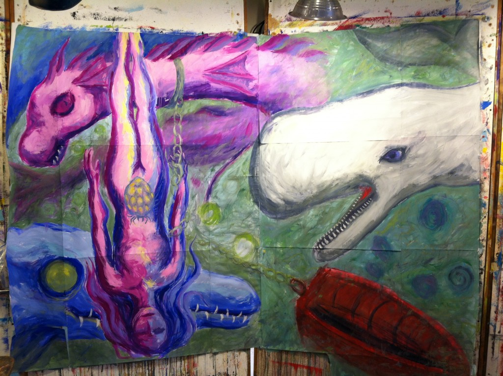 The Whale Red Boat Twin Water Dragons process painting